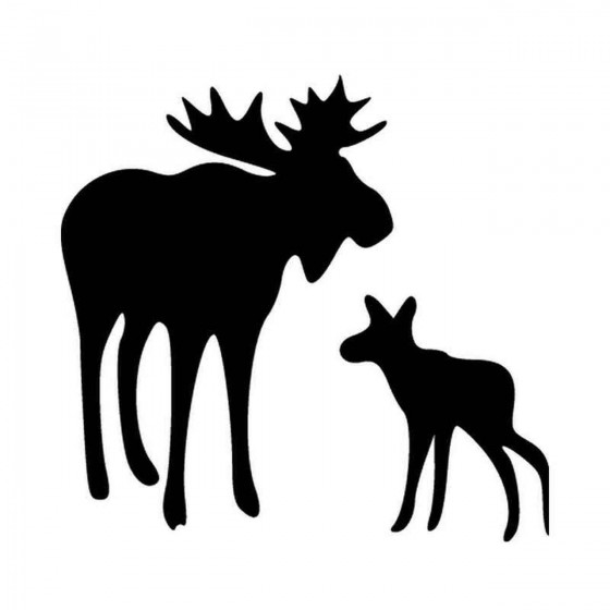 Moose With Baby Vinyl Decal...