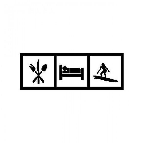 Saying Eat Sleep Surf Decal