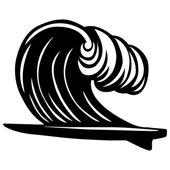 Surfboard And Wave Sticker...