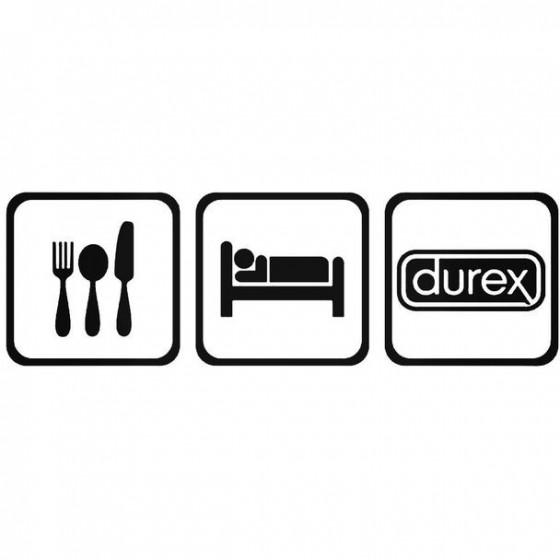 Eat Sleep Durex Decal Sticker
