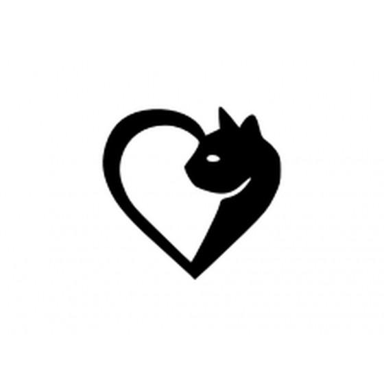 Cat Heart Sticker Vinyl Decal