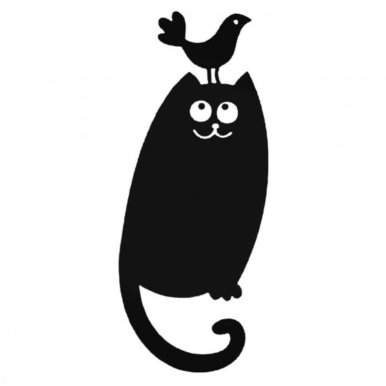 Cat With Bird On Head Decal...