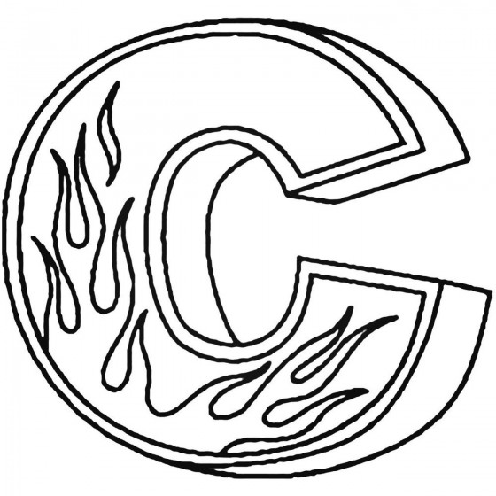 C Flames Letter Decal Sticker