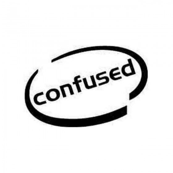 Confused Oval Decal Sticker