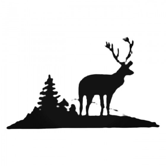Deer With Trees Decal Sticker