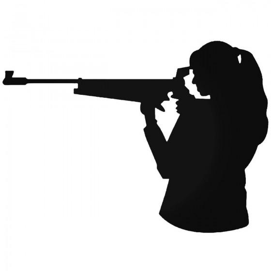 Girl Hunting Gun Rifle Sticker